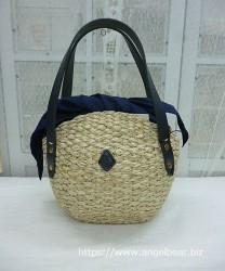 クレドラン H&W SHELL SHAPED BASKET:NATURAL×NAVY