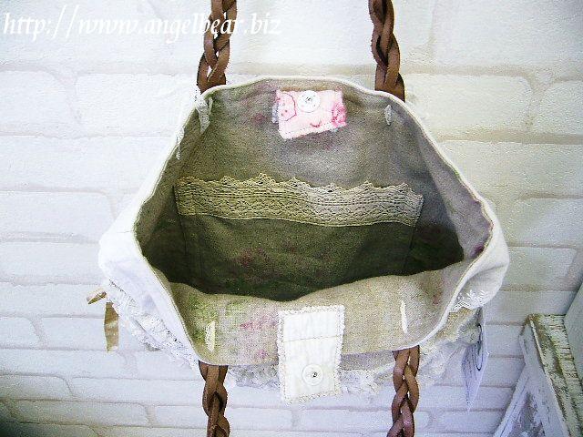【1点物】アンティークレースゆりかご・麻Bag(アンティーク・麻+レース使用)
